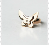 Ring som en fjäril med bling  i rose stål storlek S