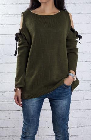 Mysig stickad tröja i grönt one size S-M