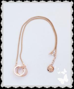 Halsband i rosé guld med ringar