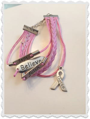 "Rosa armband Hope,Believe,Faith "" Cancer """