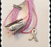 """Rosa armband Hope,Believe,Faith """" Cancer """""""
